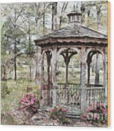 Spring Gazebo Painteffect Wood Print