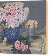 Spring In A Blue Vase Wood Print