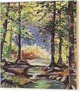 Spring In Woods Wood Print