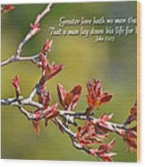 Spring Leaves Greeting Card With Verse Wood Print