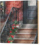 Spring - Porch - Hoboken Nj - Geraniums On Stairs Wood Print
