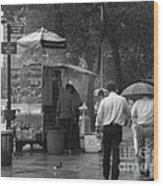 Spring Shower - Rainy Day In New York Wood Print