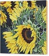 Spring Sunflowers Wood Print