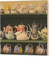 Spring Teapots  Wood Print