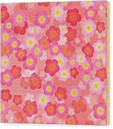 Spring Time Cherry Blossom Seamless Tile Background Wood Print