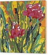 Spring Tulips Triptych Panel 3 Wood Print