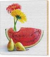 Spring Watermelon Wood Print by Carlos Caetano