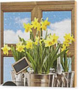 Spring Window Wood Print by Amanda Elwell