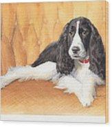 Springer Spaniel Watercolor Portrait Wood Print