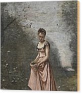 Springtime Of Life Wood Print by Jean Baptiste Camille Corot