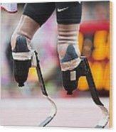 Sprinter At Start Of Paralympics 100m Wood Print