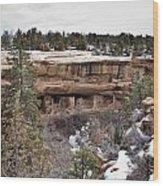 Spruce Tree Cliff Dwelling Canyon Wood Print