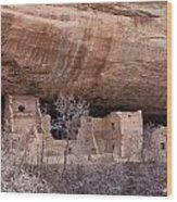 Spruce Tree Cliff Dwelling Wood Print