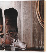 Spurs On Cowboy Boots Heels Wood Print