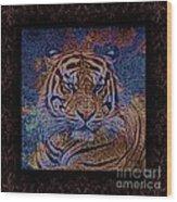 Sq Tiger Sat 6k X 6k Cranberry Wd2 Wood Print