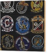 Squadron Patch Collage Wood Print
