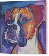 Square Boxer Portrait Wood Print by Robyn Saunders