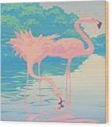 Square Format - Pink Flamingos Retro Pop Art Nouveau Tropical Bird 80s 1980s Florida Painting Print Wood Print