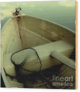 Square Polaroid Fishing Boat Wood Print