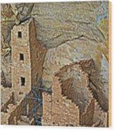 Square Tower House Closeup On Chapin Mesa Top Loop Road In Mesa Verde National Park-colorado Wood Print