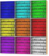 Squared Color Wall  Wood Print by Semmick Photo