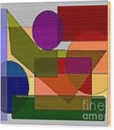 Squares Circles Wood Print