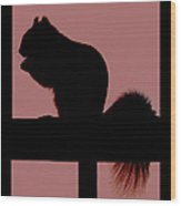 Squirrel Silouette Wood Print