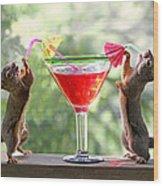 Squirrels At Cocktail Hour Wood Print