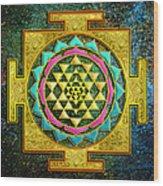 Sri Yantra Gold And Stars Wood Print