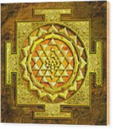 Sri Yantra Gold Stone Wood Print