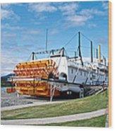 Ss Klondike Sternwheeler From Stern On The Yukon River In Whitehorse-yk Wood Print