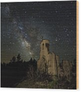 St Aloysius Ruin And The Milky Way Wood Print