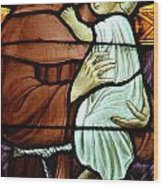 St Anthony In Stained Glass Wood Print