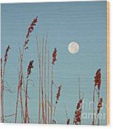 St. Augustine Beach Moonrise Wood Print