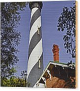 St Augustine Lighthouse - Old Florida Charm Wood Print by Christine Till