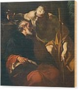 St. Benedict And A Hermit Wood Print