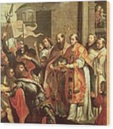 St. Bernard Of Clairvaux 1090-1153 And William X 1099-1137 Duke Of Aquitaine Oil On Canvas Wood Print
