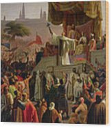 St Bernard Preaching The Second Crusade In Vezelay Wood Print