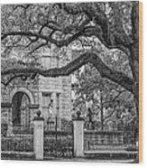 St. Charles Ave. Mansion 2 Bw Wood Print