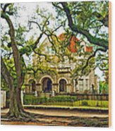 St. Charles Ave. Mansion Paint Wood Print