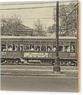St. Charles Ave. Streetcar Sepia Wood Print