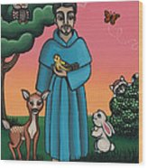 St. Francis Animal Saint Wood Print by Victoria De Almeida