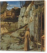 St Francis Of Assisi In The Desert Wood Print