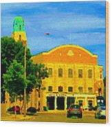 St Henri City Hall Poste De Police Et Caserne De Pompiers Montreal City Scene Art Of Carole Spandau Wood Print by Carole Spandau