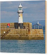 St Ives And Godrevy Lighthouses Cornwall Wood Print
