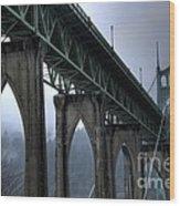 St Johns Bridge Oregon Wood Print