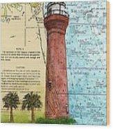 St Johns River Lighthouse Fl Nautical Chart Map Art Cathy Peek Wood Print
