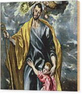 Saint Joseph And The Christ Child Wood Print