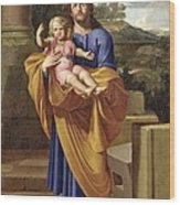 St. Joseph Carrying The Infant Jesus Wood Print