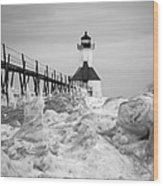 St. Joseph Lighthouse In Ice Field Wood Print